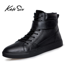 KATESEN High Quality Leather Business Men Boots Autumn Winter Warm Fur Snow Crocodile Pattern Ankle Shoes