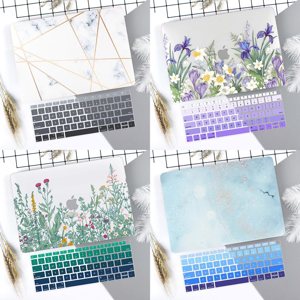 Marble Flower Pattern Laptop Case Keyboard Cover for New MacBook Air 13 2018 2019 Pro 13.3 15 inch Retina Touch Bar A2159 A1932Laptop Bags & Cases   -