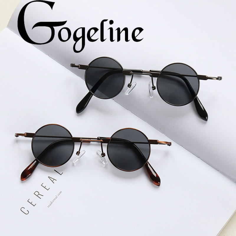 Small Round Sunglasses Women Men UV400 Metal Brand Designer Punk Sun Glasses Steampunk Vintage Goggles Black Shades