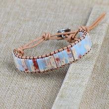 Wholesale Chakra Bracelet Jewelry Handmade Natural Shoushan Stone Tube Beads Leather Wrap Bracelet Couples Bracelets Gifts