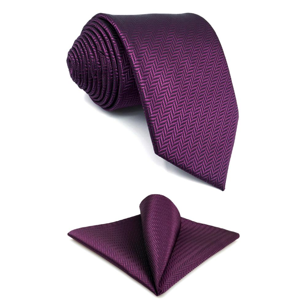 Purple Silk Neck Classic Silk Necktie Tie Hanky and Cufflinks Set For Men