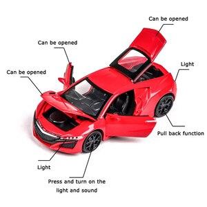 Image 5 - אקורה NSX 1:32 Diecast דגם רכב סימולציה מתכת ספורט רכב סגסוגת מכוניות עם קול אור כלי רכב למשוך בחזרה צעצוע מכונית לילדים