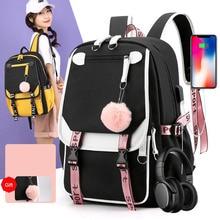 Laptop Backpack Schoolbag New-Fashion Mochila Girl Kids Women for Teenage Escolar Hair-Ball