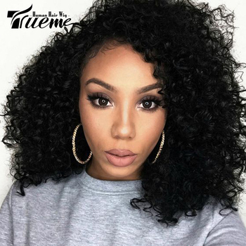 Trueme Jerry Curly Lace Part Wig Lace Front Human Hair Wigs With Baby Hair Pre-Plucked Side Part Brazilian Kinky Curly Lace Wig lace front human hair wigs 13 4 brazilian kinky curly human hair wig preplucked with baby hair beaudiva curly lace front wig