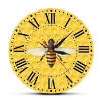 Abelhas no mel sala de estar parede arte relógio mel abelhas em favos de mel decoração da parede do berçário bumble abelha polinizador moderno relógio de parede