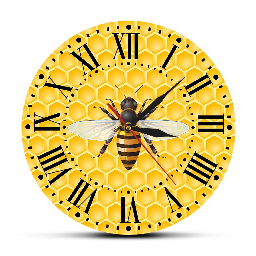 Bees On Honey Living Room Wall Art Clock Honey Bees On Honeycombs Nursery Wall Decor Bumble Bee Pollinator Modern Wall Watch