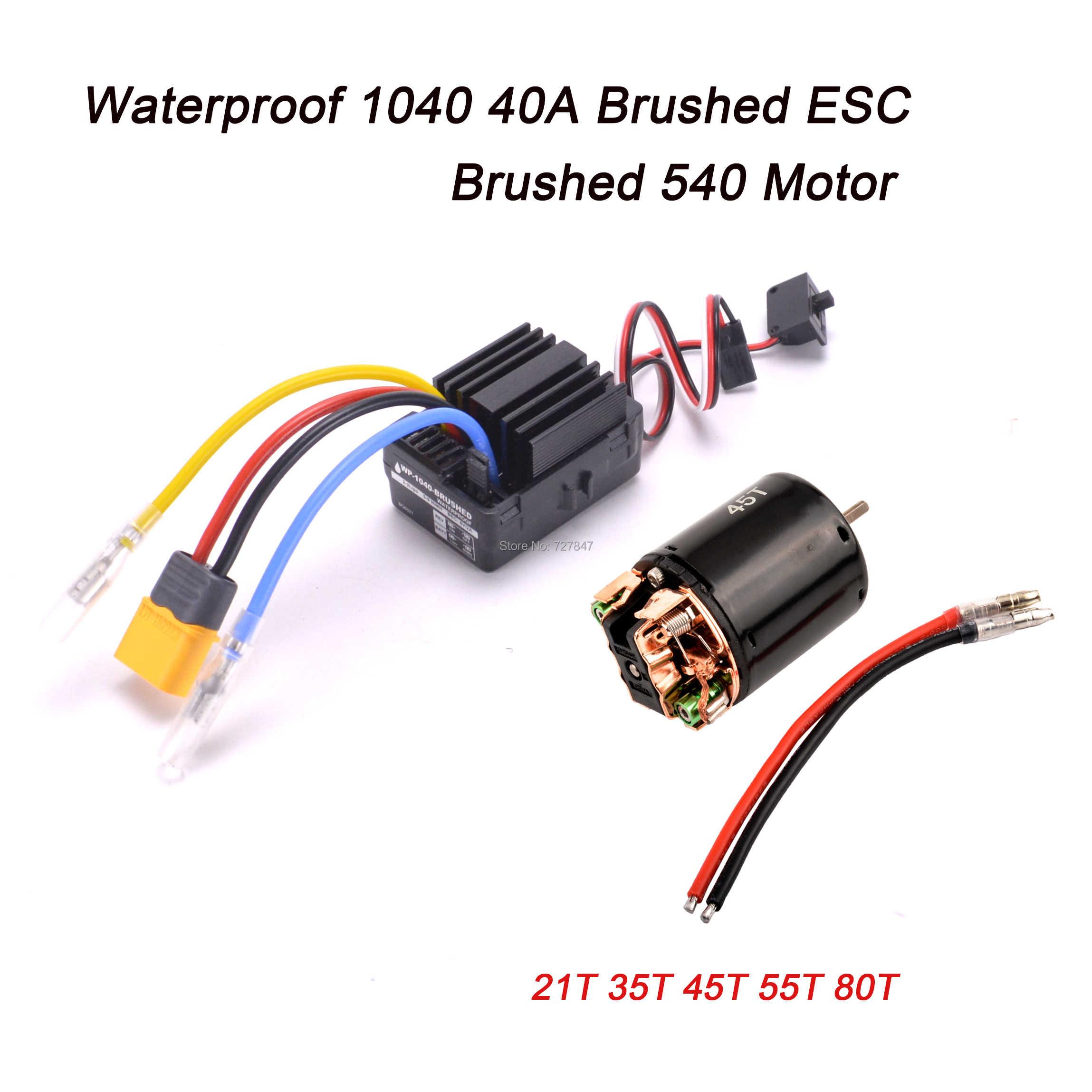 Impermeable 1040 40A cepillado ESC con Motor 540 21 35T 45T 55T 80T para 1/10 RC Hobby coche barco oruga