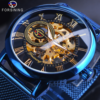 Forsining 3D Skeleton Royal Retro Design Black Golden Dial Mechanical Watch Blue Mesh Stainless Steel Band Luminous Wristwatch forsining 3d skeleton royal retro design blue steel mesh band golden movement men mechanical male wrist watches top brand luxury