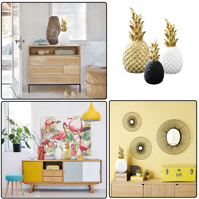 Nordic Resin Gold Pineapple Modern Home Decoration For Living Room Cabinet Window Desktop Party Wedding Home Ramadan Decoration 4