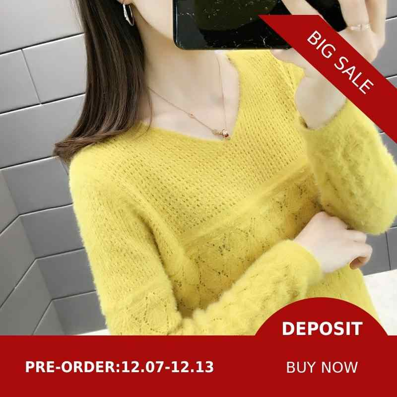 Lobby Actual photograph of 2019 new sweater women's mink-like knitted cardigan 44