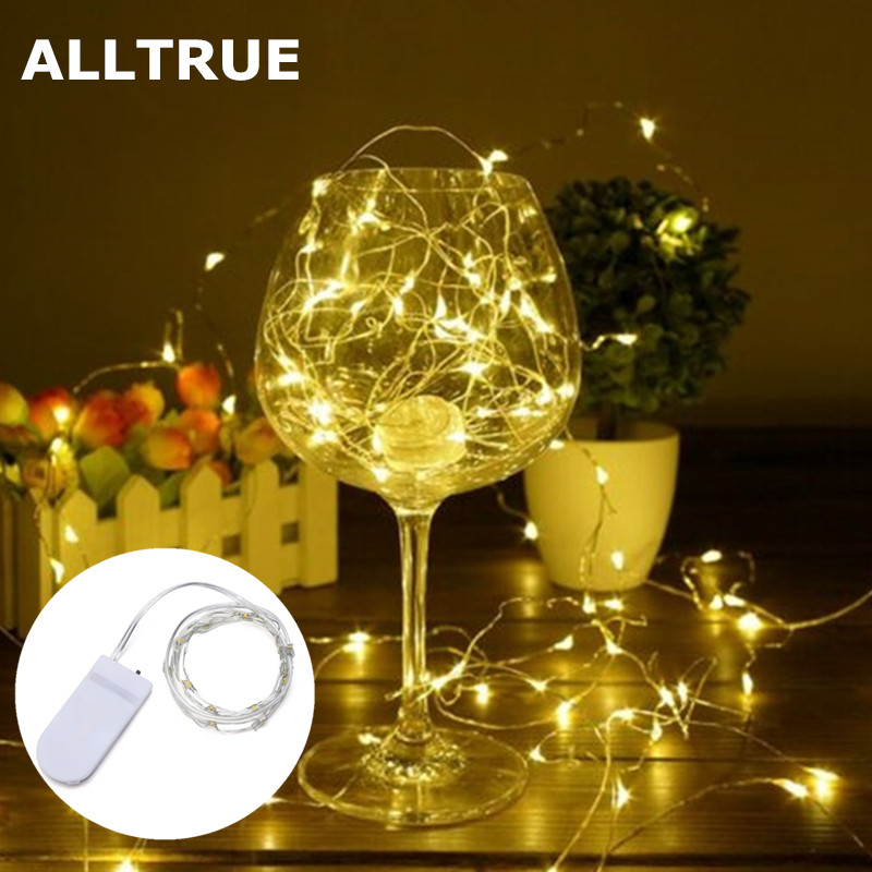 ALLTRUE New Year 1M 2M 3M 5M LED Silver Wire String Lights Fairy Garland For Christmas Home Wedding Outdoor Holiday Decoration