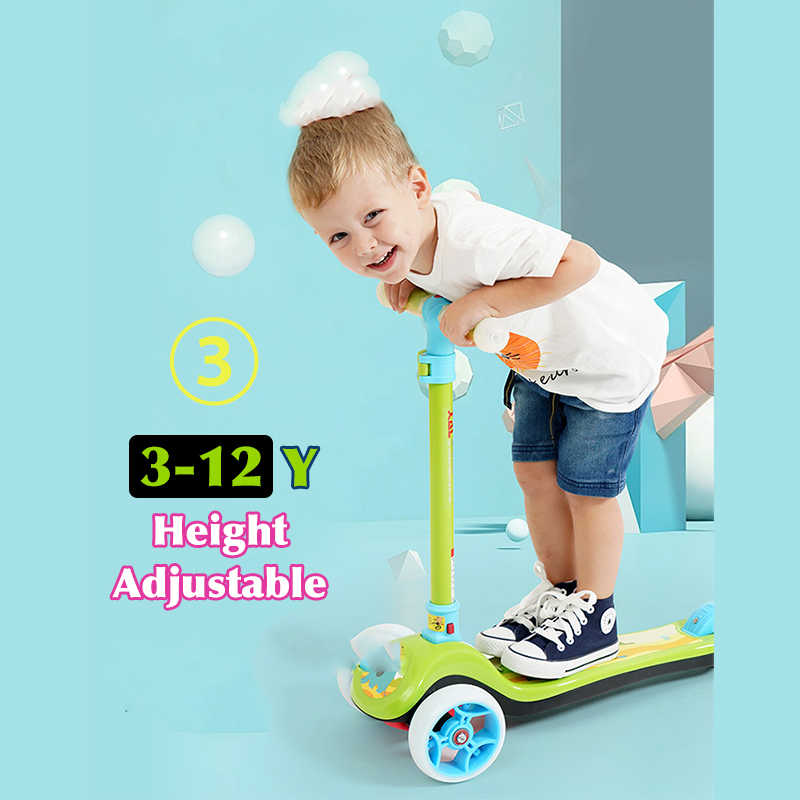 赤ちゃんシャイニングスクーター 3-12Y ベビーフラッシュ輪自転車子供のおもちゃバランスバイクキック少年少女のための観光ギフト