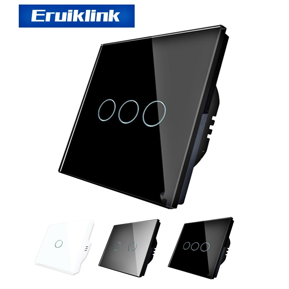 Eruiklink EU/UK Standard Luxury Wall Touch Sensor Switch, Wall Light Touch Switch,Crystal Glass Touch Screen Light Switch