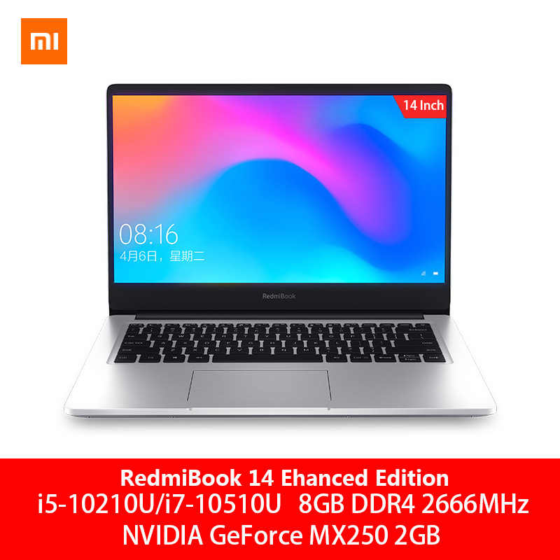 Oryginalny Xiaomi RedmiBook Laptop Pro 14.0 calowy i7-10510U nvidia geforce MX250 8GB DDR4 RAM 512GB SSD Ultra cienki Notebook srebrny