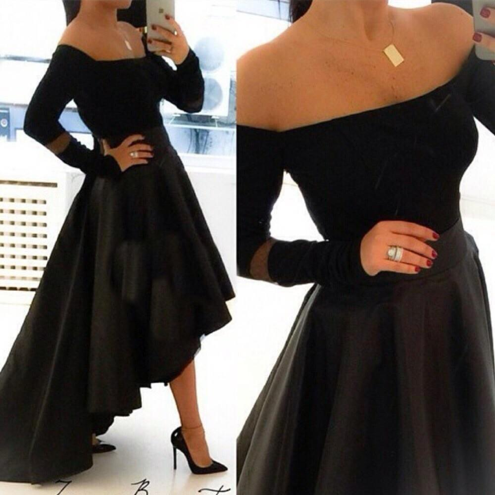Black Long Sleeves After Short Before Long 2018 Party Gown Sexy Boat Neck Evening Vestido De Festa Mother Of The Bride Dresses
