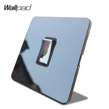 Wallpad H6 Hitam Nikel 1 Gang 1 Cara 2 Way Lampu LED Rocker Switch Panel Stainless Steel Logam Tombol(China)