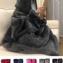 Hooded Blanket Pocket Sofa Coral Fleece Warm Travel Flannel Giant Thick Winter Beds Home