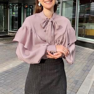 Image 5 - BerryGo Polka dot bluzka vintage koszula kobiety wiosna lato z długim rękawem koronkowy top eleganckie odzież do pracy na co dzień koszulka żeńska top blusas