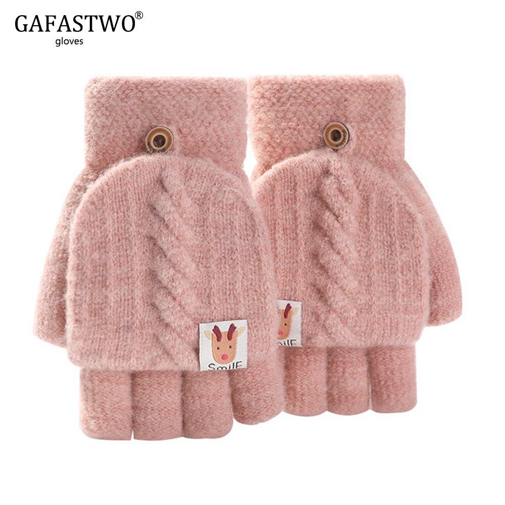 Christmas Knit Gloves Women Winter Fashion Elk Pattern Ladies Half Finger Flip Windproof Thicken Warm Gloves Cute Student
