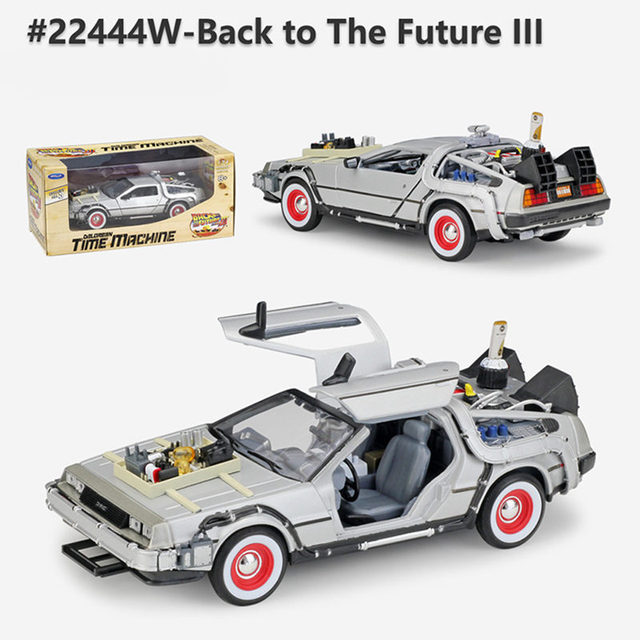 Welly 1:24 Diecast Alloy Model Car DMC-12 delorean back to the future Time Machine Metal Toy Car For Kid Toy Gift Collection 3