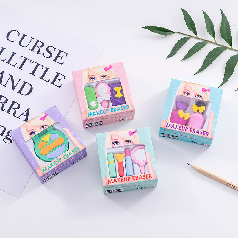 Creative Cosmetic Eraser Cute Writing Drawing Rubber Pencil Erasers Stationery For Kids Toy Gifts School Suppies