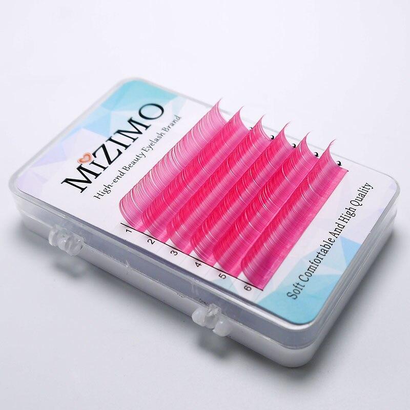 MIZIMO Neue Farbe pfropfen wimpern 0,07/0,1mm C/D 8-15mm Rose rot künstliche Nerz haar Charakter Wimpern Verlängerung