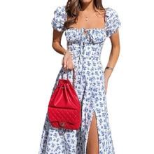 NewAsia Imprimé Floral Robe Doux Col Carré Manches Bouffantes Côté Renversé Cordon Robes Maxi pour Femmes Parti Chic Tenues Décontractées