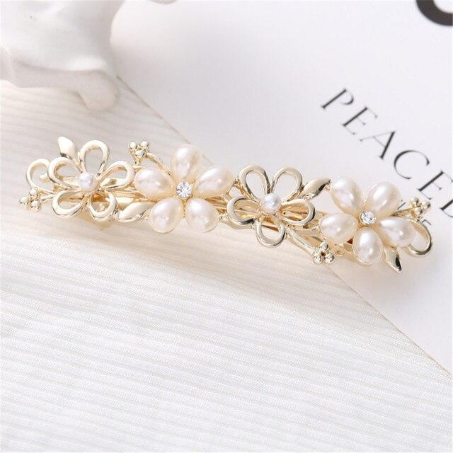 Metall Crystal Beads Hair Clips Barrette Pearl Flower Haarnadeln Haargriffe