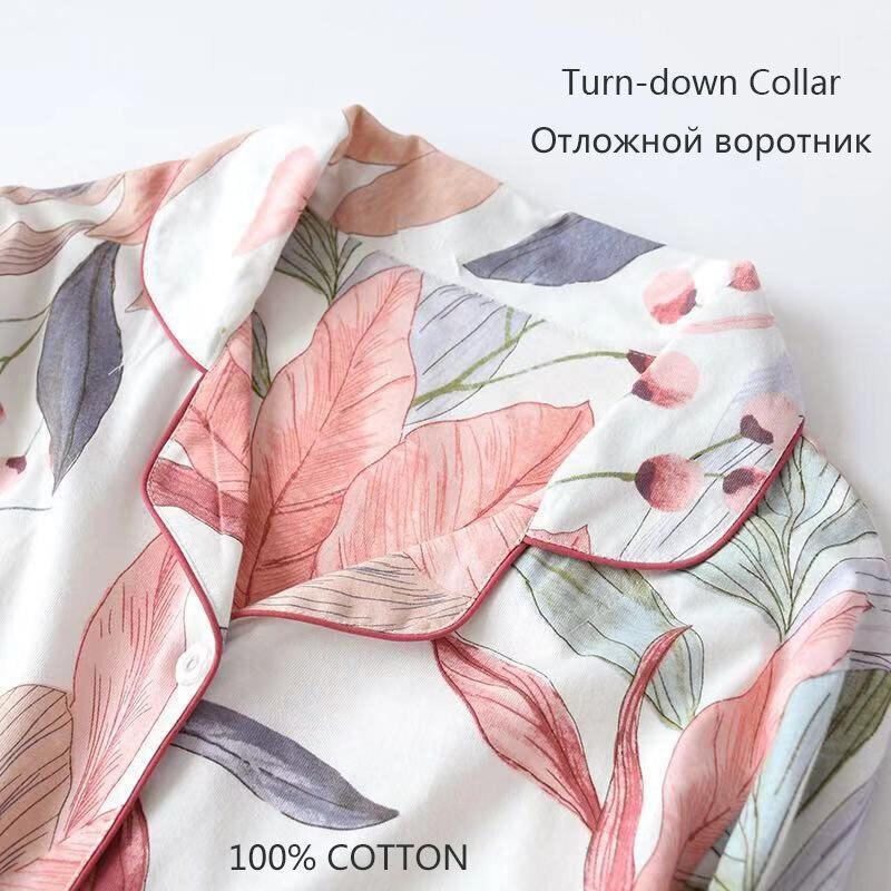 Top SaleFemale Sleepwear Two-Piece-Set Pajama Cotton Home-Clothes Printed Brief Fashion Plus-Size