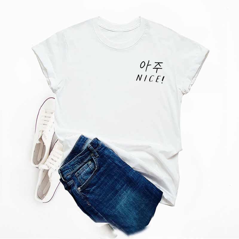 T-shirts femmes été dix-sept Kpop Aju agréable coton à manches courtes mode coréenne T-shirt esthétique femmes T-shirt impression haut goutte