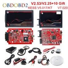 Онлайн V2.7 ЕС красный KESS V5.017 OBD2 менеджер Тюнинг K-T V7.020 4 светодиодный KESS 5,017 рамка фонового режима отладки K-T Авто программатор системного блок...