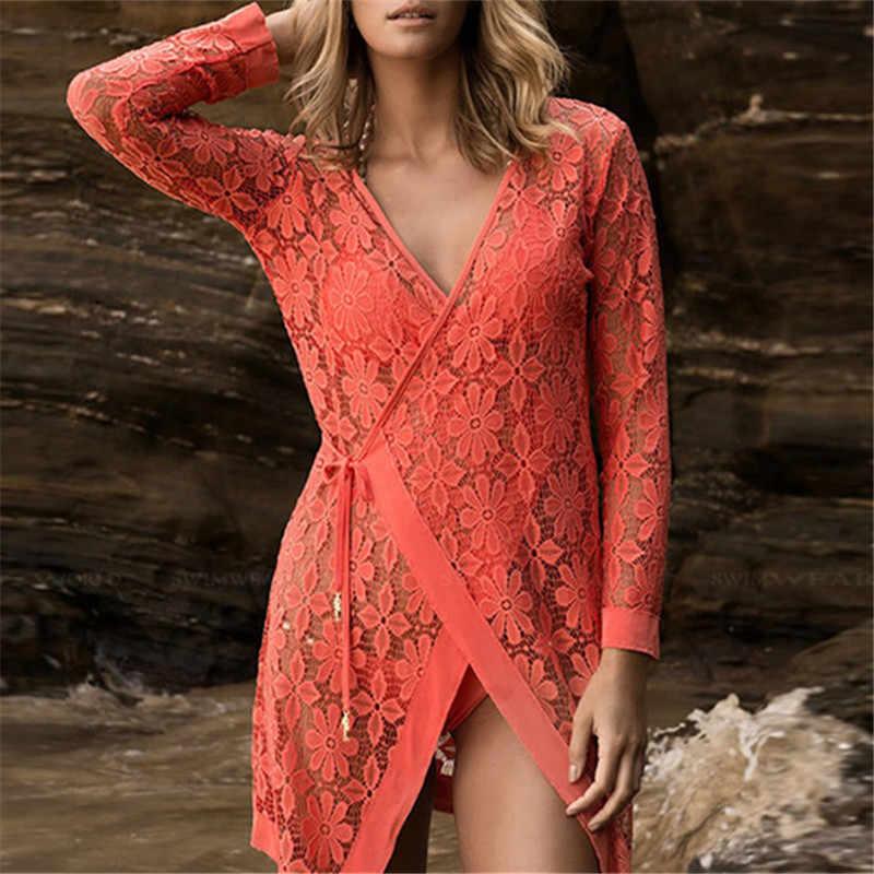 כניסות חדשות סקסי חוף כיסוי למעלה תחרה בגדי ים גבירותיי Pareo לנשים וחוף Coverups שמלת חוף פונצ 'ו סעידה דה Praia # Q122