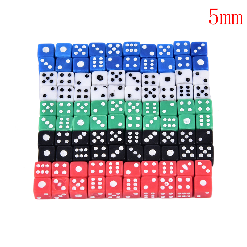 20pcs Acrylic Dice 5mm Dice Friends Family Party KTV Game Dice Entertainment Props