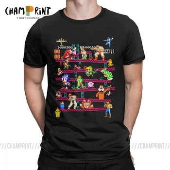 Men Arcade Game Collage T Shirts FC Console Vintage Style Tee Shirt Classic LA Camiseta Cotton Clothing Plus Size T-Shirt - discount item  40% OFF Tops & Tees