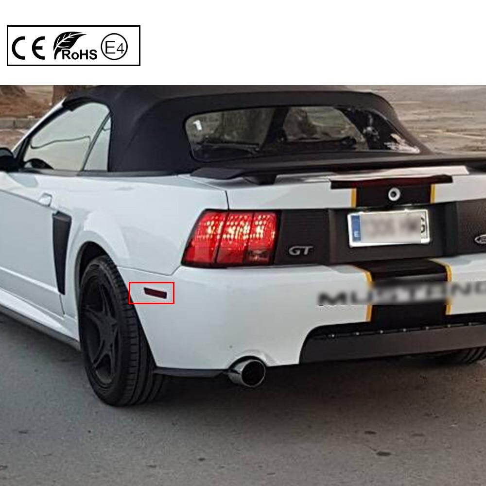 2x red lens red light led rear bumper reflector side marker light for ford mustang 99 04