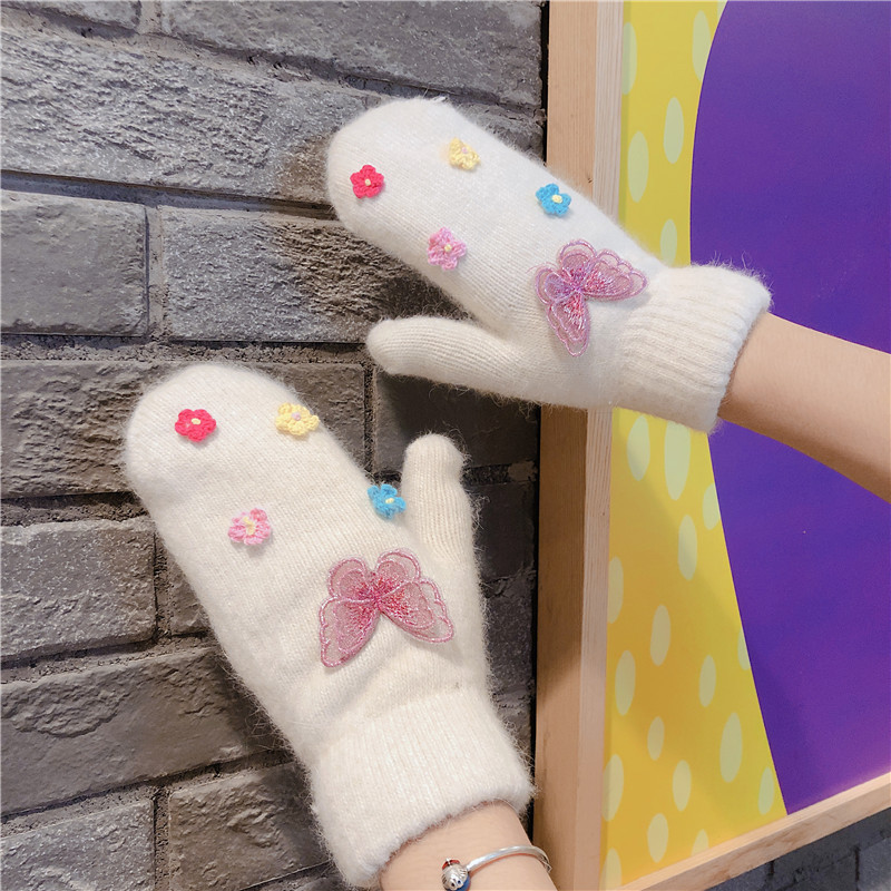 Women Winter Rabbit Fur Knitted Full Finger Gloves Basic Thicken Plush Lining Mittens Butterfly Wrist Warmer