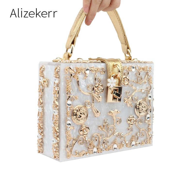 Acrylic Box Evening Bags Women Luxury Flowers Lock Diamonds Stone Pattern Small Square Clutch Shoulder Bag Female Dinner Handbag