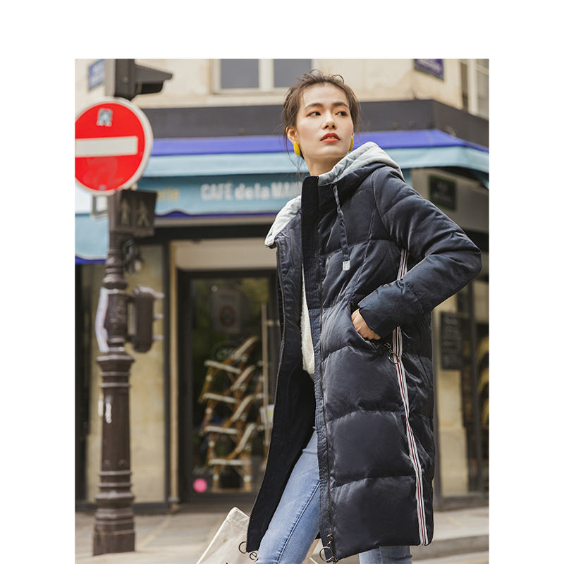 INMAN Autumn New Arrival Female Chic Style Contrast Color Hooded PatchWork Long Section Down Coat