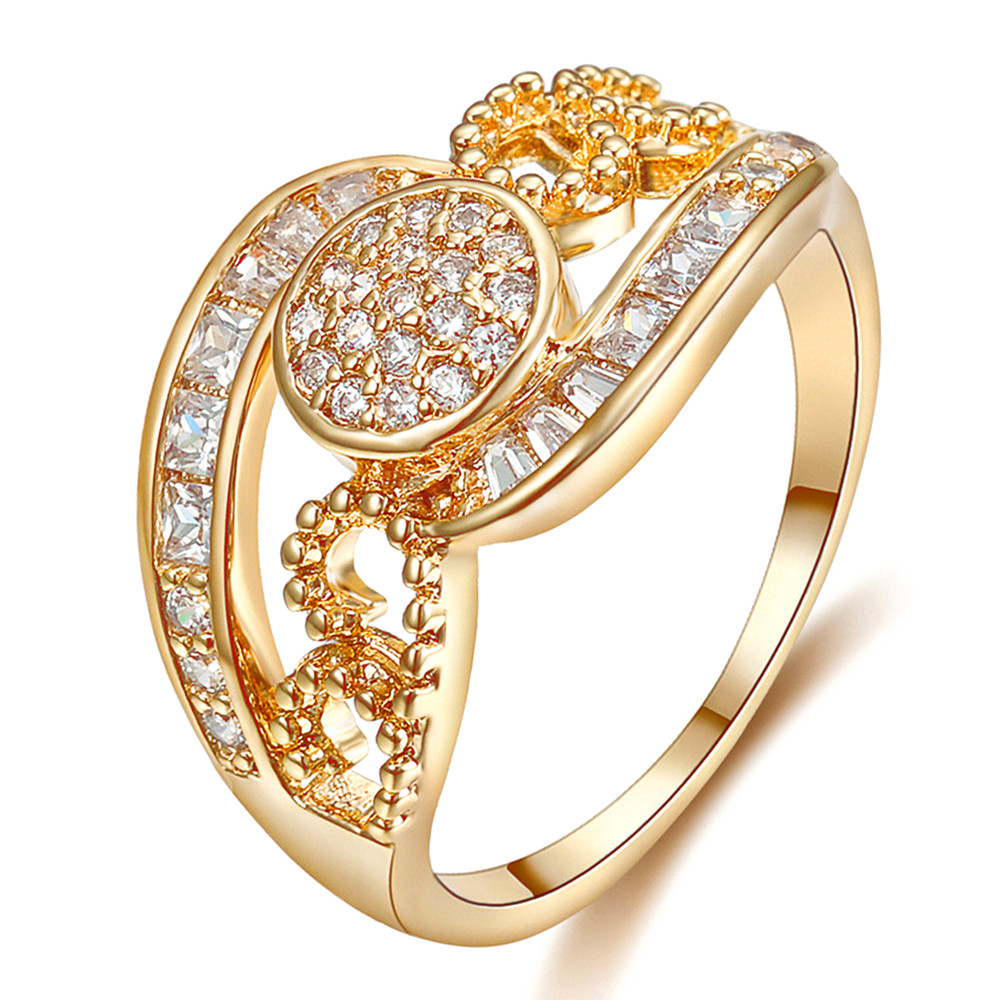 Indian fashion full AAA zircon diamond gemstones Rings for women femme 18k gold color bling jewelry bijoux vintage anillos gift