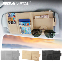 Car Sun Visor Organizer Pocket Leather Sunshade Clip Storage Bags Card Glassed Pen Clip Cash Holder Stowing Tidying Accessories