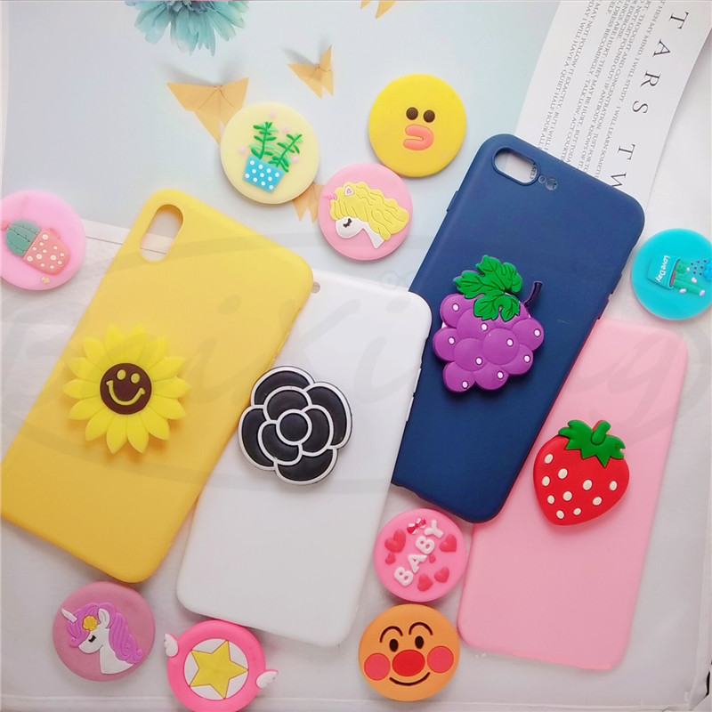 Universal Phone Socket Stand Bracket Expanding Stand Sretch Grip Ring Holder Finger Cute Cartoon Stand For Iphone 7 8 Plus XS