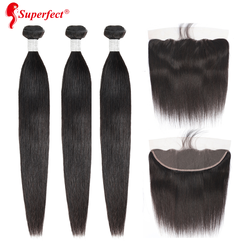 Peruvian Straight Hair Bundles With Frontal Closure Remy Human Hair Bundles With Frontal 13x4 Lace Frontal With Bundles