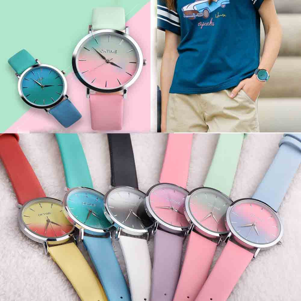 2019 Cheap Rainbow Design Ladies Watch Leather Band Analog Alloy Quartz Womens Watch Watch Female Clock Reloj Mujer Dropshiping