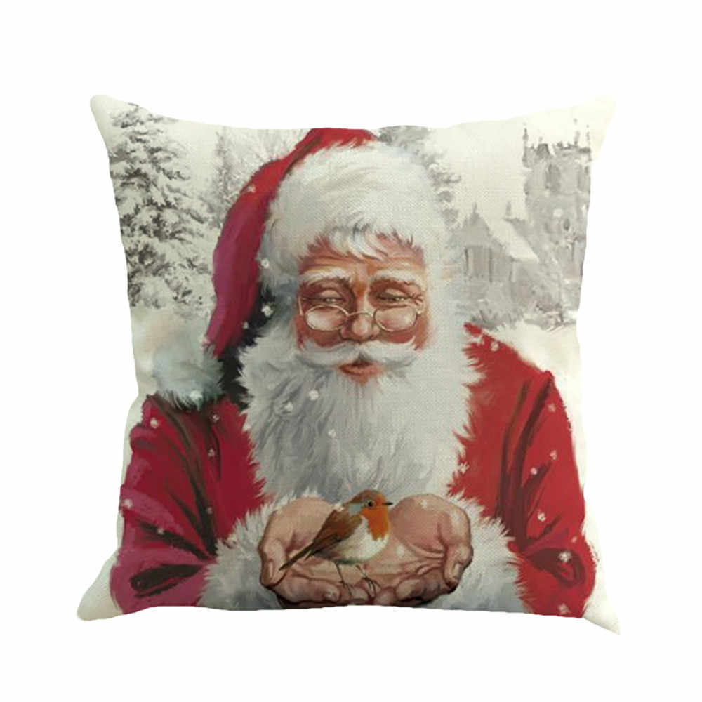 Christmas Multicolor 45cm*45cm Dyeing Sofa Bed Home Decor Pillow Cover Christmas printed Flax Cushion Cover 1PC #15