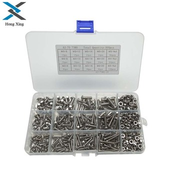 500pcs/lot M3/M4/M5 304 Stainless Steel Machine Screws With Hex Nuts Assortment Kit Button Head Bolts Metric Thread screw nut 500pcs set m3 m4 m5 button head hex socket screw bolt nut stainless steel screws nuts assortment kit fastener hardware kit