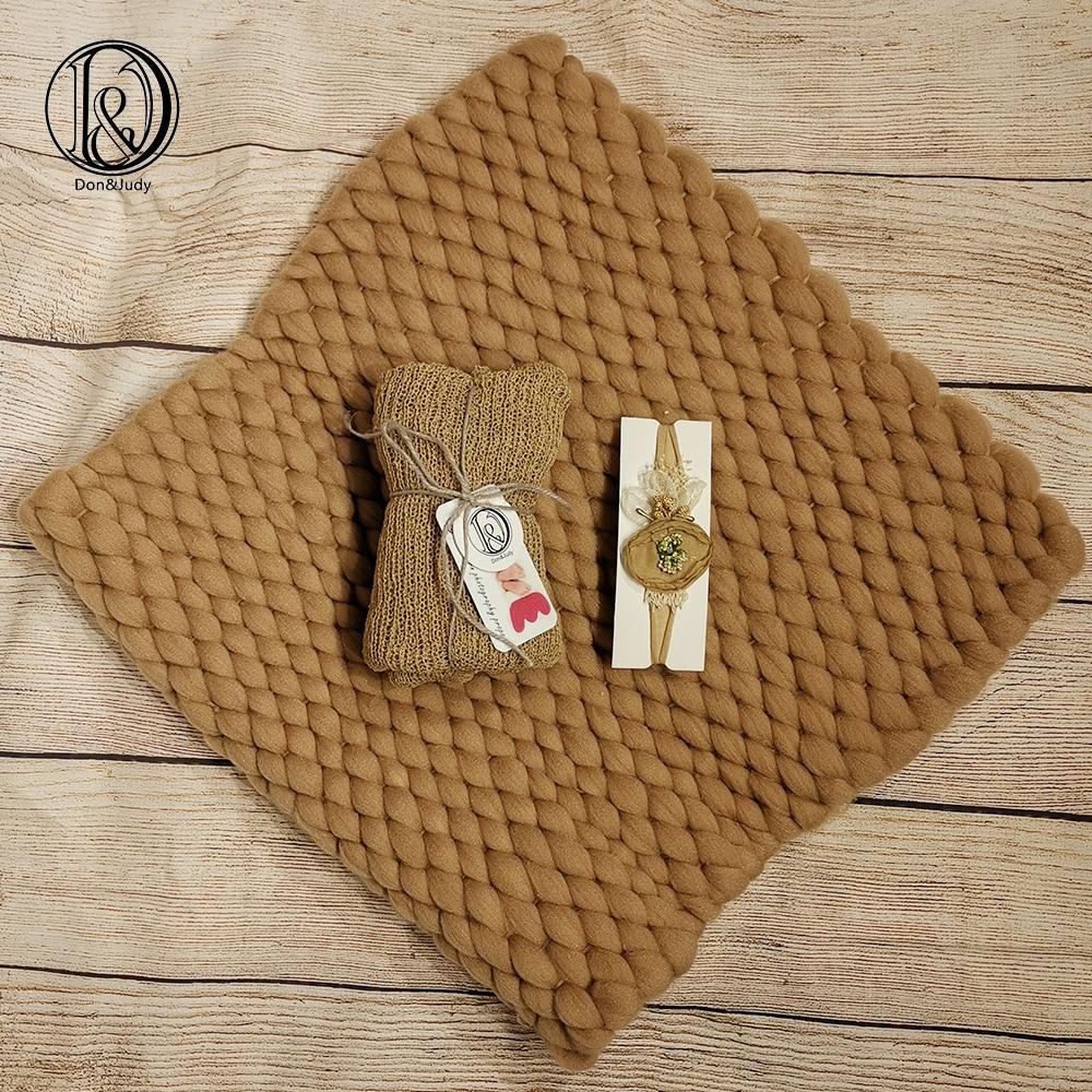 Don&Judy Newborn Set Chunky Knit Blanket+Wrap+Headband Infant Photo Prop Basket Stuffer Filler Newborn Photography Props
