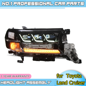 Image 3 - Car accessories LED headlights for Toyota Land Cruiser 17 19 for head lamp LED DRL Lens Double Beam H7 HID Xenon bi xenon lens