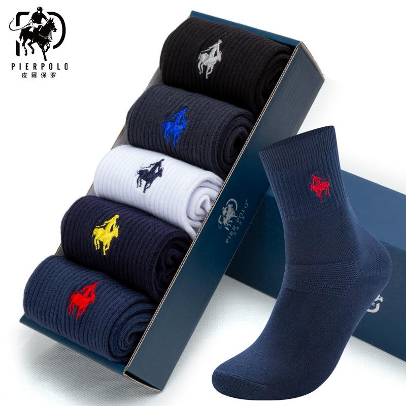 Pier polo casual negócio meias masculinas de alta qualidade macio marca penteado algodão meias logotipo bordado vestido meias para o homem presente