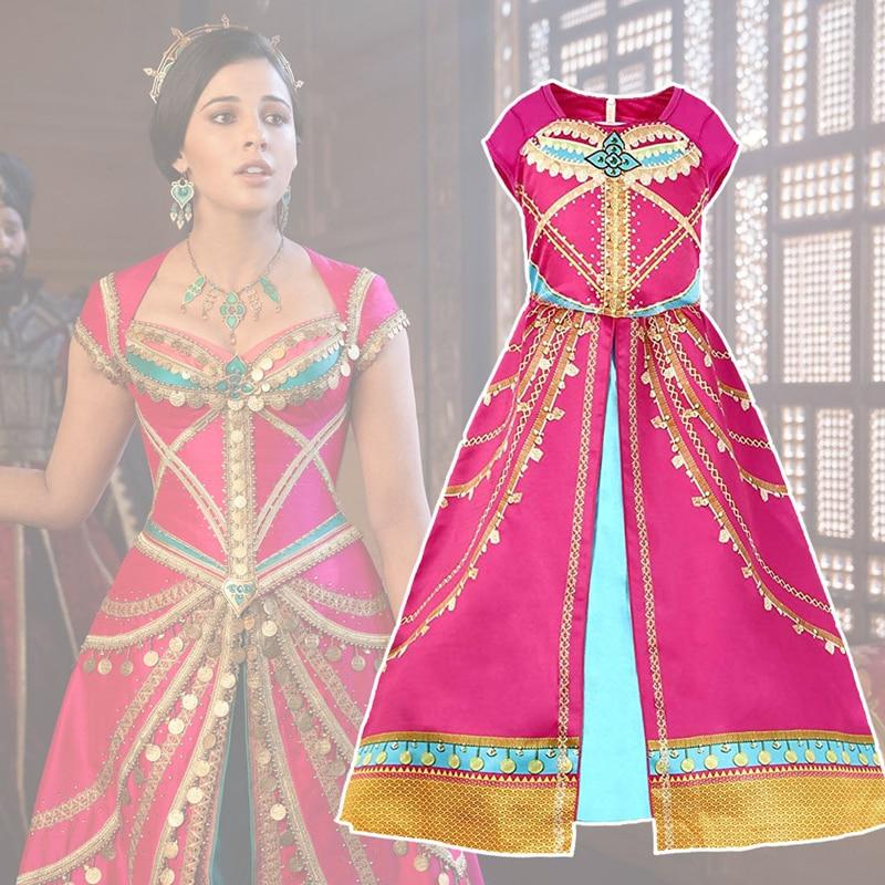 Jasmine Arabian Magic Lamp Princess Costume Cosplay For Girls Fantasy Dress Halloween Costume For Kids