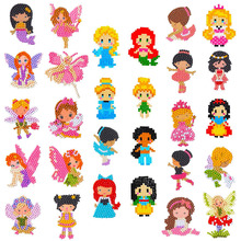 28 Pieces Diamond Painting Kits Kids DIY 5D Stickers Princess Fairies Dance Mermaid for and Adult